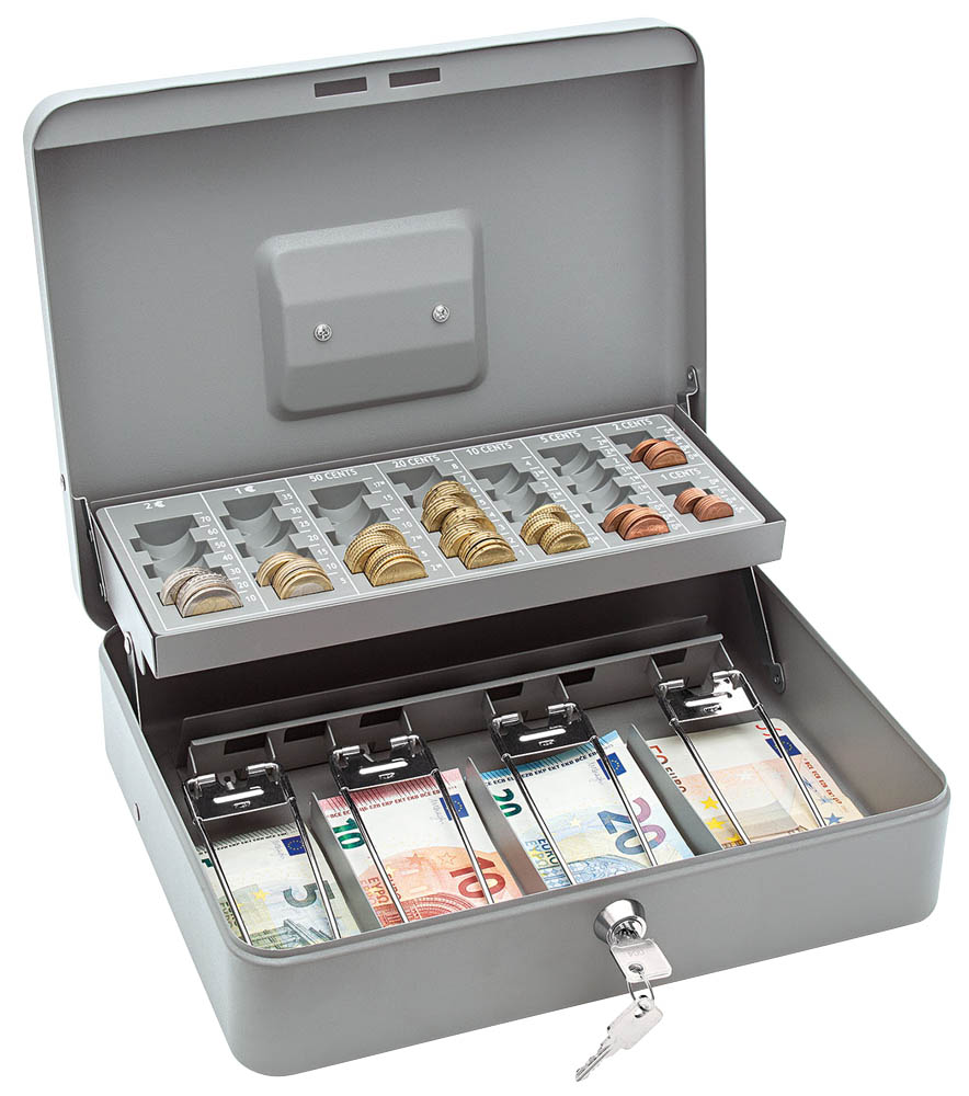 Geldkassette,355x275x100mm,Zählbrett,grau