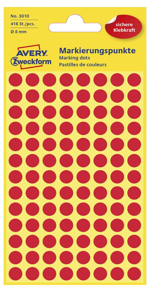 Etiketten,Punkte,8mm,416 St.,rot