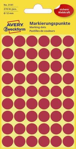 Etiketten,Punkte,12mm,270 St.,rot
