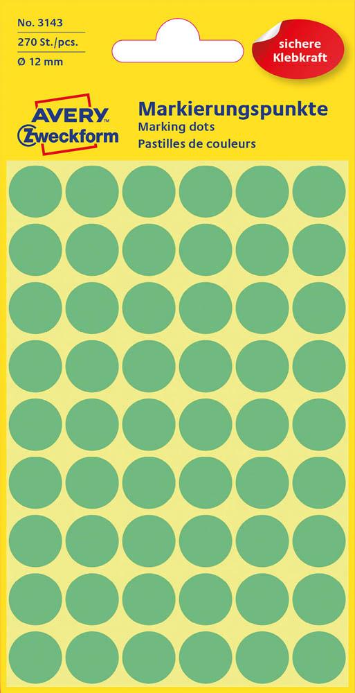 Etiketten,Punkte,12mm,270 St.,grün