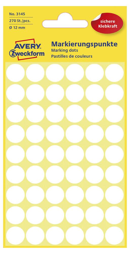 Etiketten,Punkte,12mm,270 St.,weiß